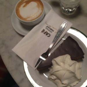 Weiner Melange and Sacher Torte at a traditional coffee house in Vienna.