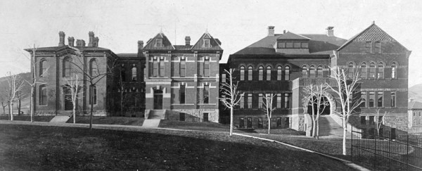 1880 Chemistry Building (also known as Old Main) For a quarter century, Old Main was the school's administrative and educational center. It consisted of three buildings, constructed 1880 (left), 1882 (middle) and 1890 (right). The final addition included a library, auditorium and gymnasium. In 1906, it was superceded by Guggenheim Hall, although it continued to stand until the mid-1950s, when Hill Hall was built on the site. (Photo taken c. 1895; Russell & Lyn Wood Mining History Archive, Arthur Lakes Lib., CSM)