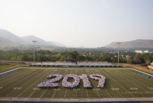 Students form 2019 on the football field